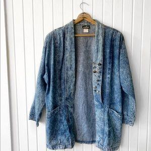 Vintage 90s Acid Wash Denim Cardigan Jacket G1914